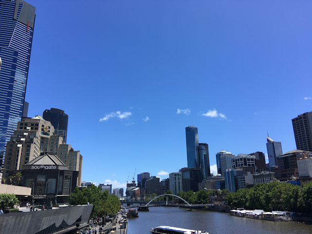 View of Melbourne over the Yarra River on a sunny day
