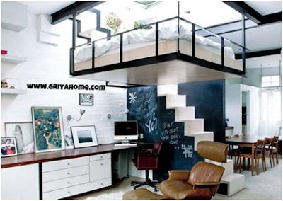Desain Apartemen Studio Menggunakan Tidur Gantung