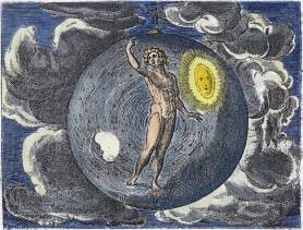 Emblem Of Microcosm Macrocosm From Jan Moerman De Cleyn Werelt 1608, Emblems Related To Alchemy