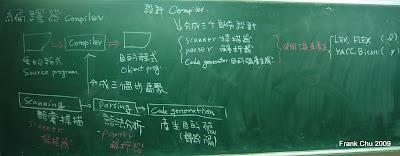 編譯器的組成三要素:掃描器(scanner),解析器(parser)和目的碼產生器(code generator),我們會介紹使用Lex&YACC工具產生scanner和parser