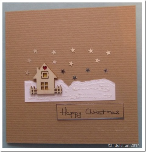 Kraft House in the Snow Christmas Card