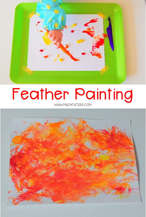 Painting with feathers is a fun Thanksgiving sensory activity for toddlers, preschoolers, and school aged kids.