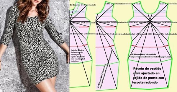 Patrón de vestido en tejido de punto con elasticidad media y máxima