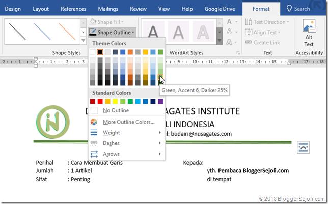 Mengubah warna garis microsoft word -  bloggersejoli.com