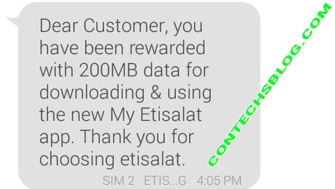 Etisalat Free 200MB Data Received - Get Yours Now