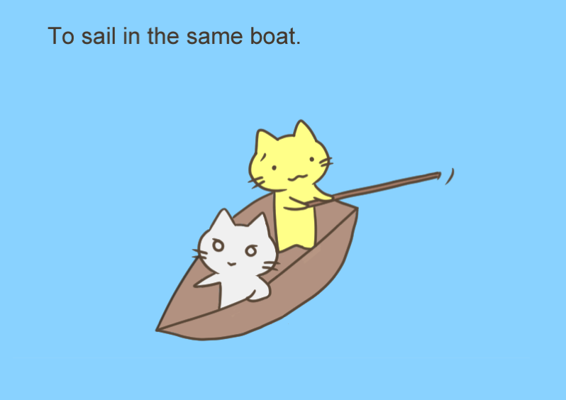 To sail in the same boat
