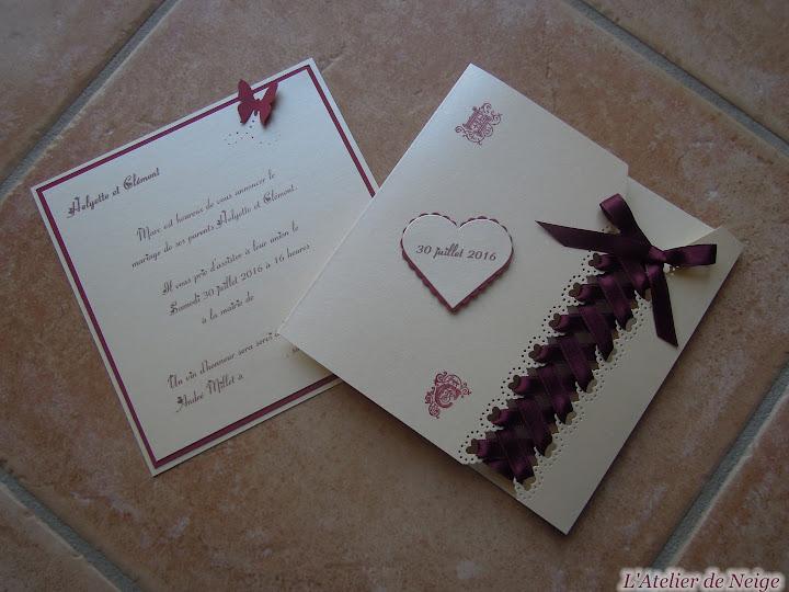 228 - Faire-Part Mariage  Helyette et Clément 30 juillet 2016