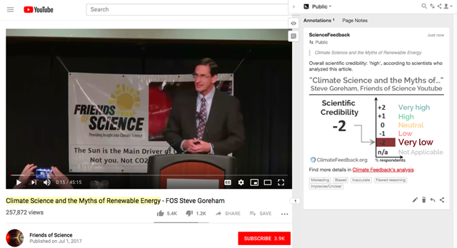 "Screenshot of the a YouTube video from ""Friends of Science"", named ""Climate Science and the Myths of Renewable Energy - FOS Steve Goreham"", which claims that climate change is not dangerous and is not caused by humans. Scientists who reviewed this video found that it comprises a litany of common myths about climate science. Goreham misrepresents global temperature data, the physics of the greenhouse effect, and the factors controlling sea level rise, among many other things. Graphic: Climate Feedback"