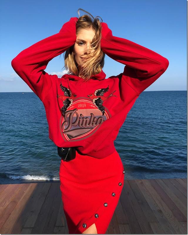 LenaPerminova_wearing Pinko