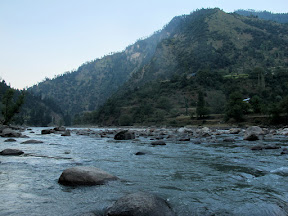 Evening spent on the bank of the Neelum River