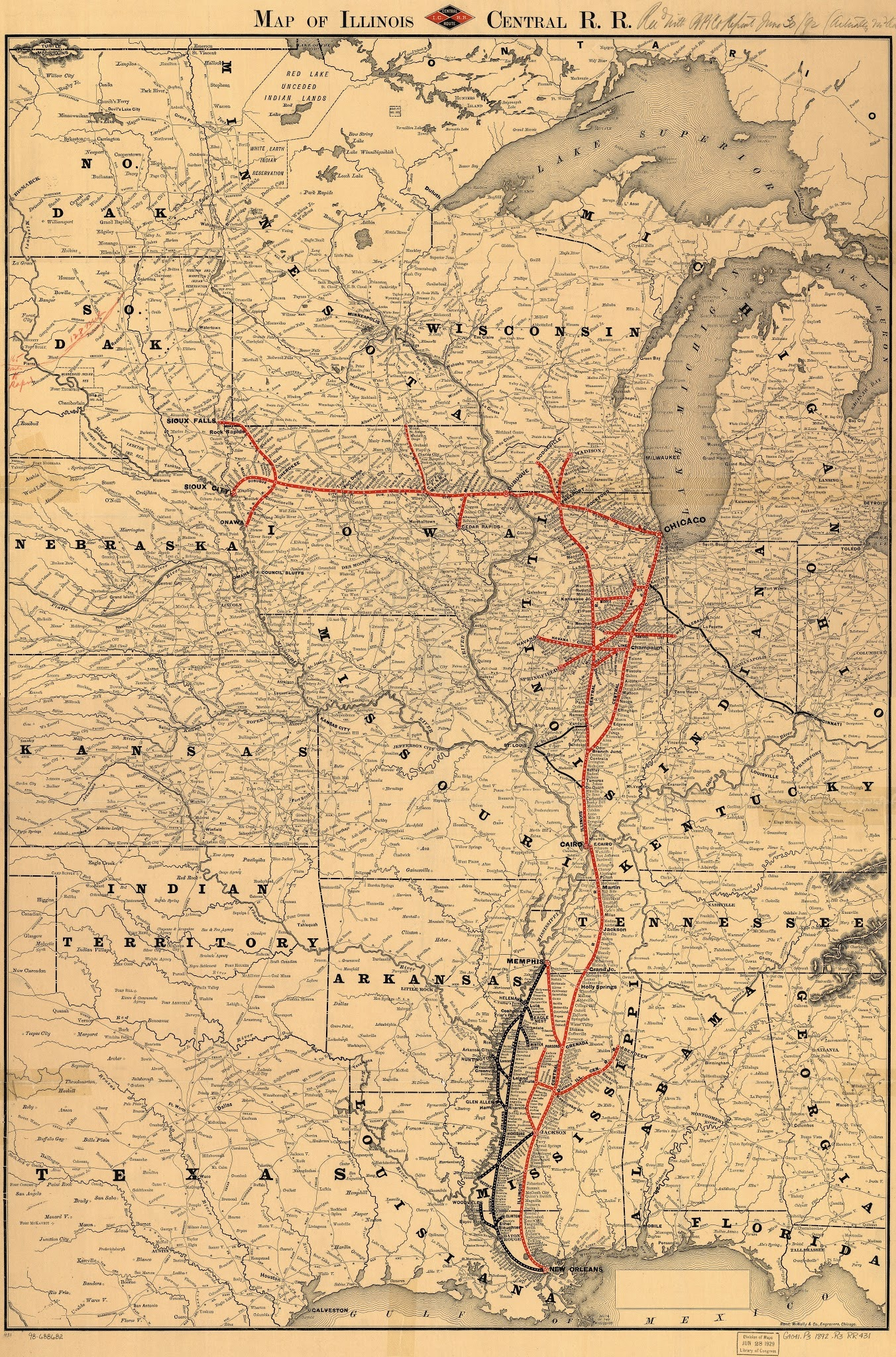 Vintage infographic Map of Illinois Central Railroad (1892)