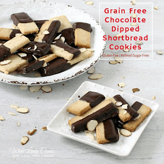 Grain Free Chocolate Dipped Shortbread Cookies.