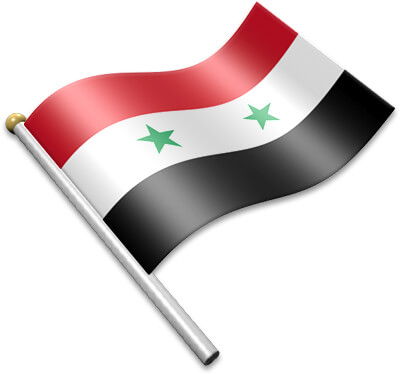 The Syrian flag on a flagpole clipart image