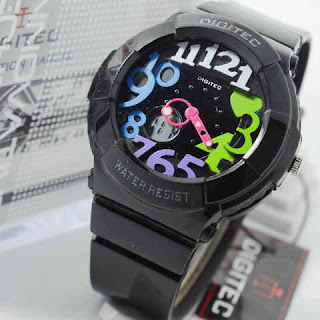 Jam Tangan Digitec black rubber rainbow ladies Original