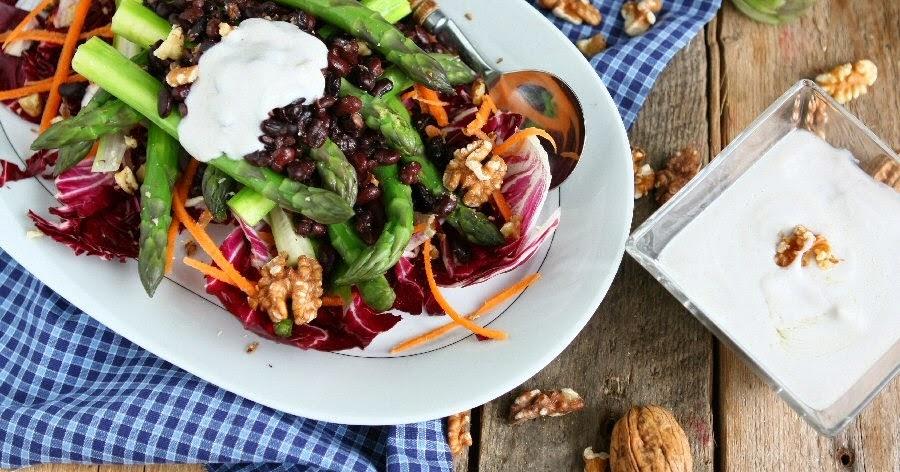 Asparagus Salad with Creamy Walnut Dressing