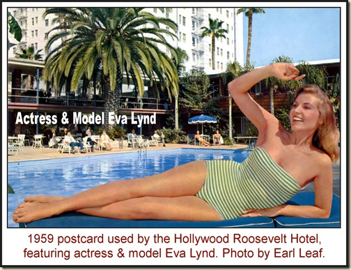 Eva Lynd - Hollywood Roosevelt Hotel (1959) - front WM2
