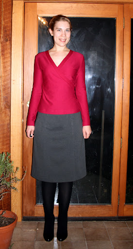 Jalie 2449 top (rayon/lycra doubleknit) and Marfy 1883 skirt (ponte knit)