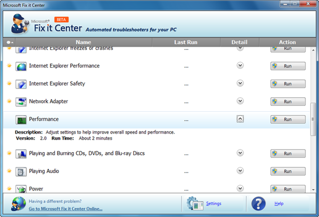 برنامج مايكروسوفت الرسمى لتصليح مشاكل الويندوز Fix it Center v1.0.0080