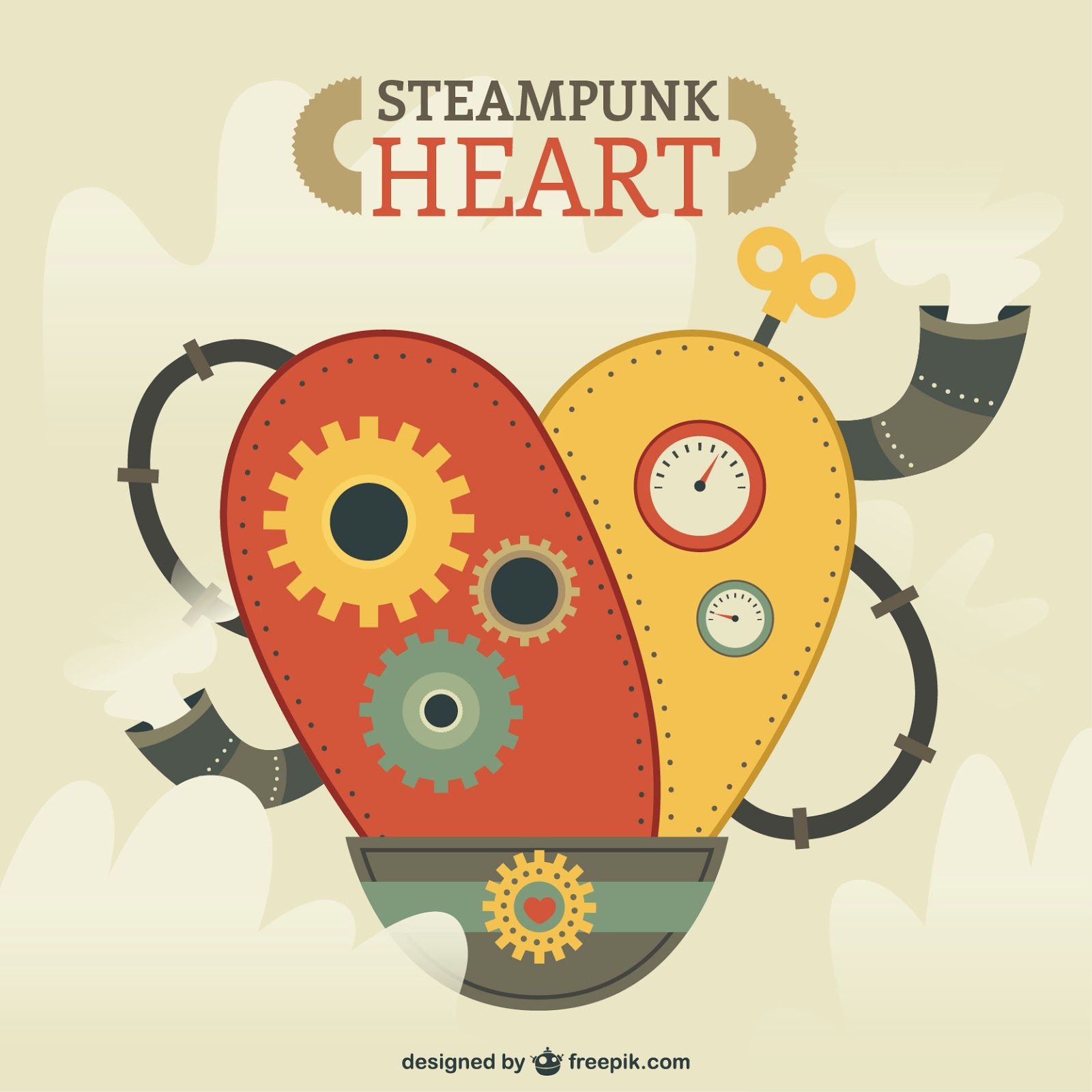 Steampunk Heart Illustration Free Download Vector CDR, AI, EPS and PNG Formats