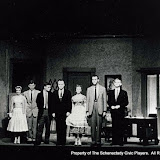 Ann Leland, Thomas Rich, Gene Galusha, Sanger Steele, Marjorie Feiner, Donald Mack and Tom Roberts in THE BROWNING VERSION - January 1957.  Property of The Schenectady Civic Players Theater Archive.