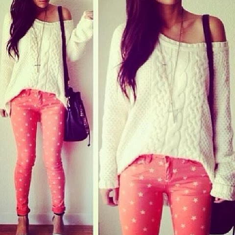 White loose sweater and polka dot pants for fall