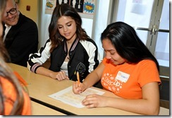 LOS ANGELES, CA - MARCH 23:  Selena Gomez (L) and Coach Surprise Step Up Teens at High Schools on March 23, 2017 in Los Angeles, California.  (Photo by Donato Sardella/Getty Images for Coach)