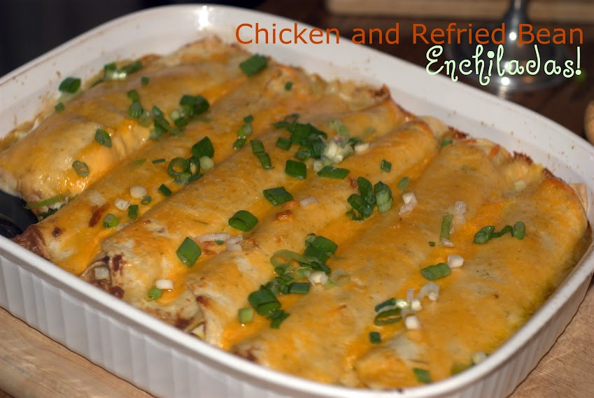 Chicken and Refried Bean Enchiladas