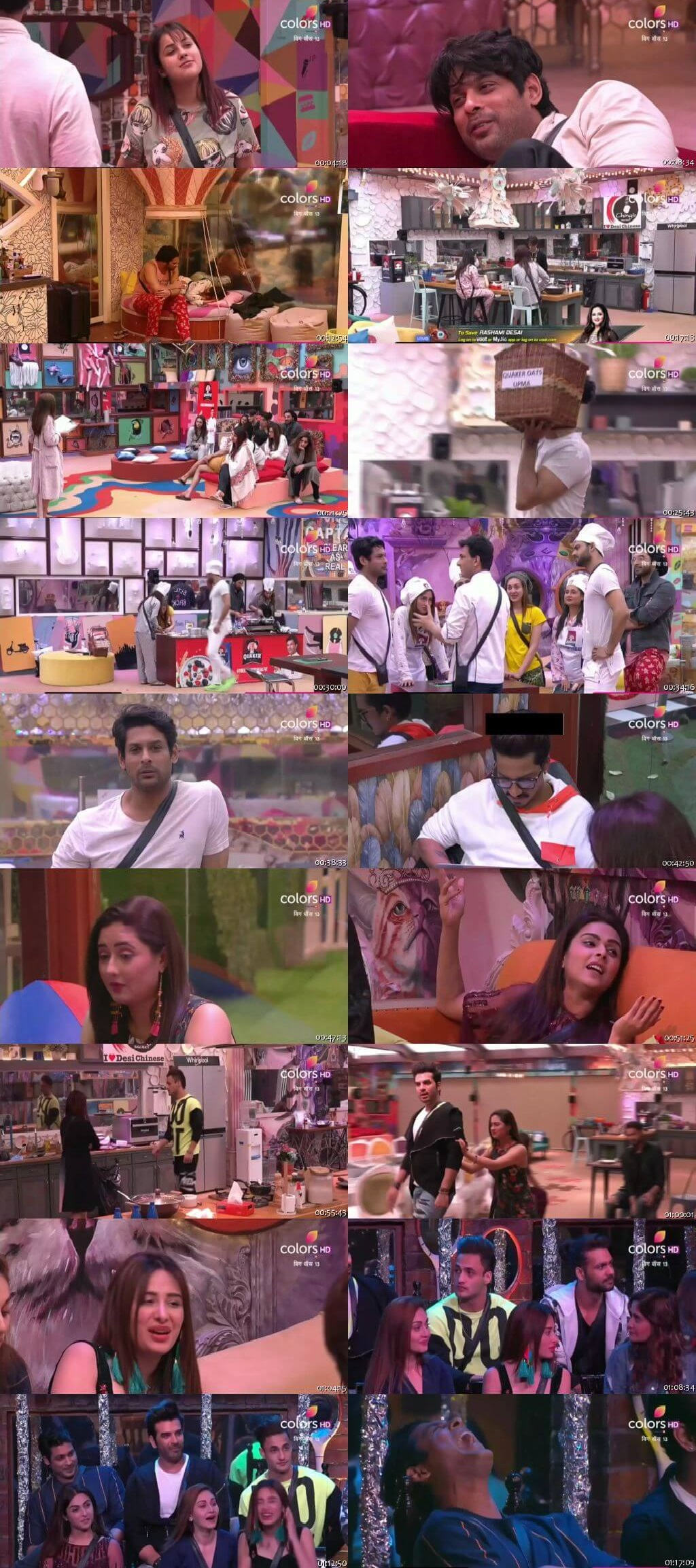 Screenshots Of Hindi Show Bigg Boss 13 9th January 2020 Episode 101 300MB 480P HD
