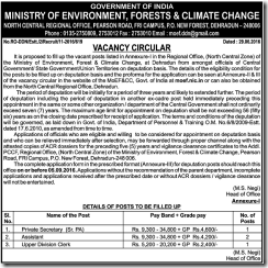 MOEF Vacancy 2016 ww.indgovtjobs.in
