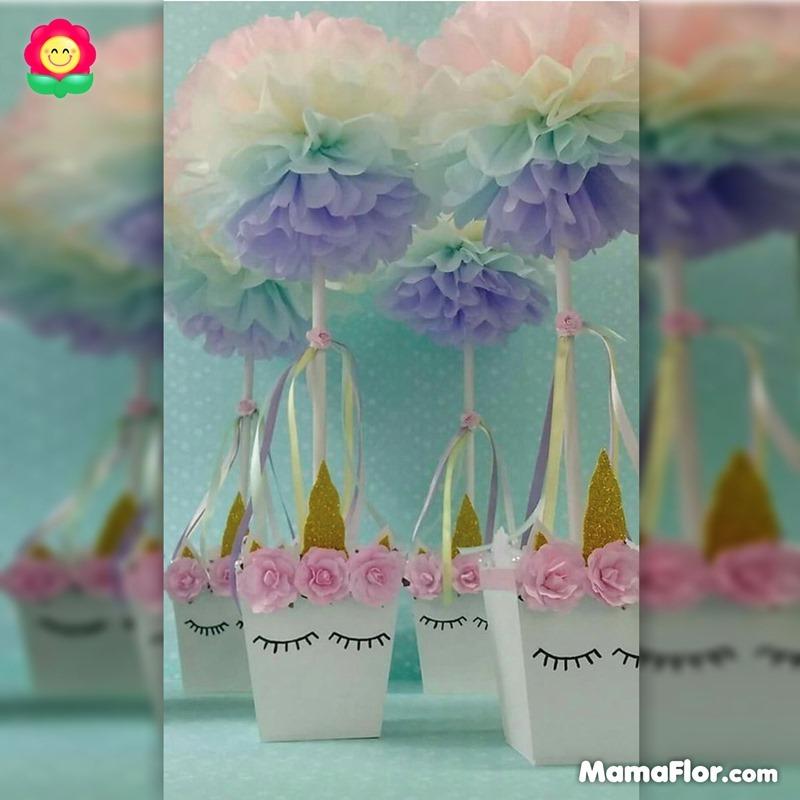 centros de mesa unicornios fiesta 14