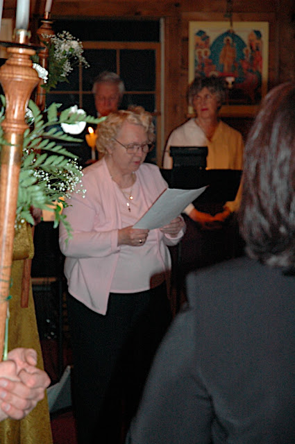 Regina reads the Gospel reading in Russian.  Others languages included English, Greek, Romanian, Georgian, Polish, Spanish, and French.