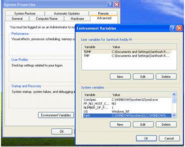 Environment variables dialog