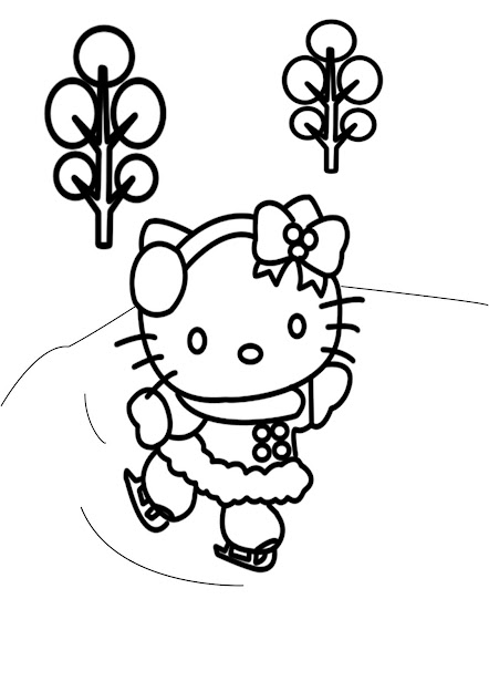 Free Winter Coloring Pages Hello Kitty Skating