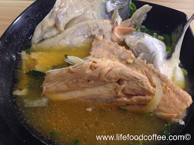 sushilicious, salmon fish head soup (half)