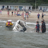 1 September 2012 - the motorboat is righted.  Photo credit: Poole RNLI/Dave Riley