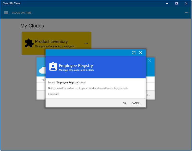 Cloud Employee Registry is found and ready to be added in native Universal Windows Platform app Cloud On Time.