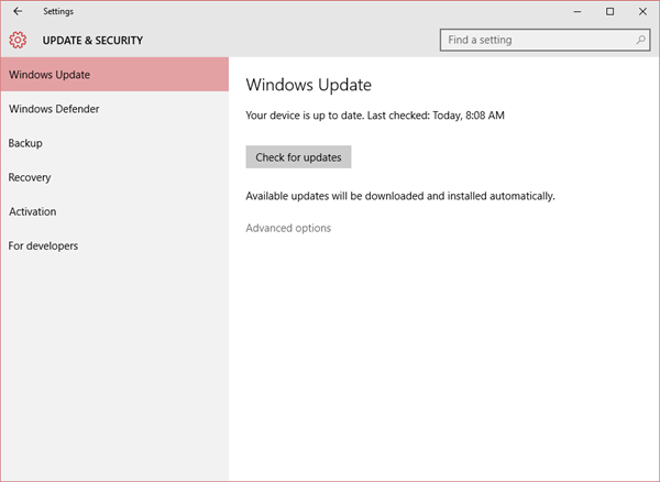 Window Update did not find build 10240