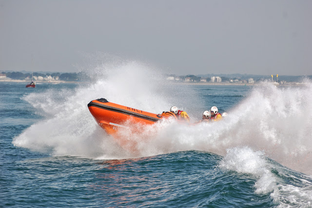 Poole's B class Atlantic 85 on exercise in Poole Bay Sunday 14 July 2013 Photo: RNLI Poole/Dave Riley