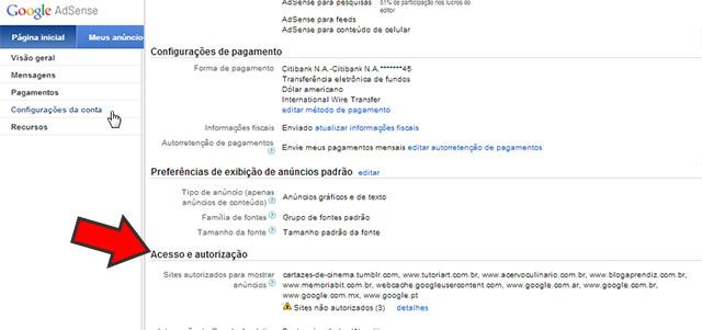 """Opção """"Acesso e Autorização"""" do Google AdSense"""