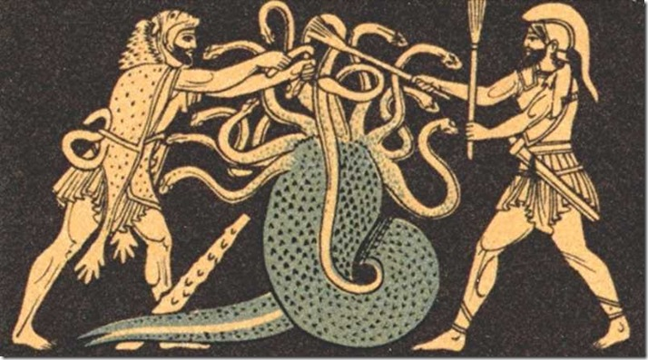 Heracles battling squid-like hydra, Greece 1970