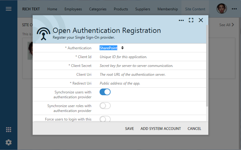 OAuth registration form for Microsoft SharePoint integration of an app created with Code On Time