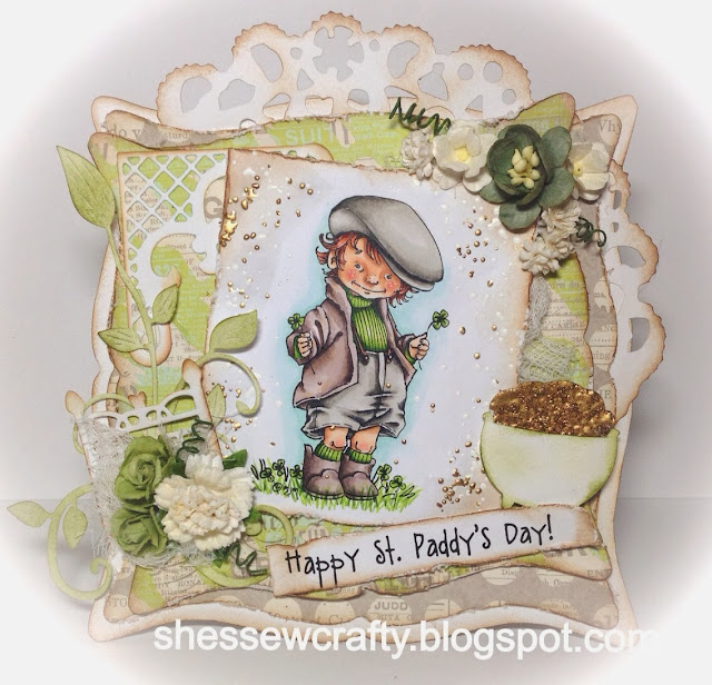 Green Vintage card using Mo's Digital Pencil Paddy, paper flowers St. Patrick's Day card