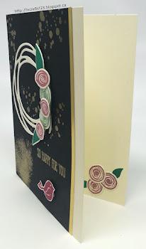Linda Vich Creates: Swirly Bird Wreath. Swirly Bird wreath card in neutrals, gold, and In Colors.