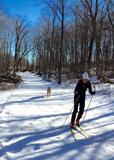 Skaters Extension. Hudson finally gets to stretch his legs on the trails!