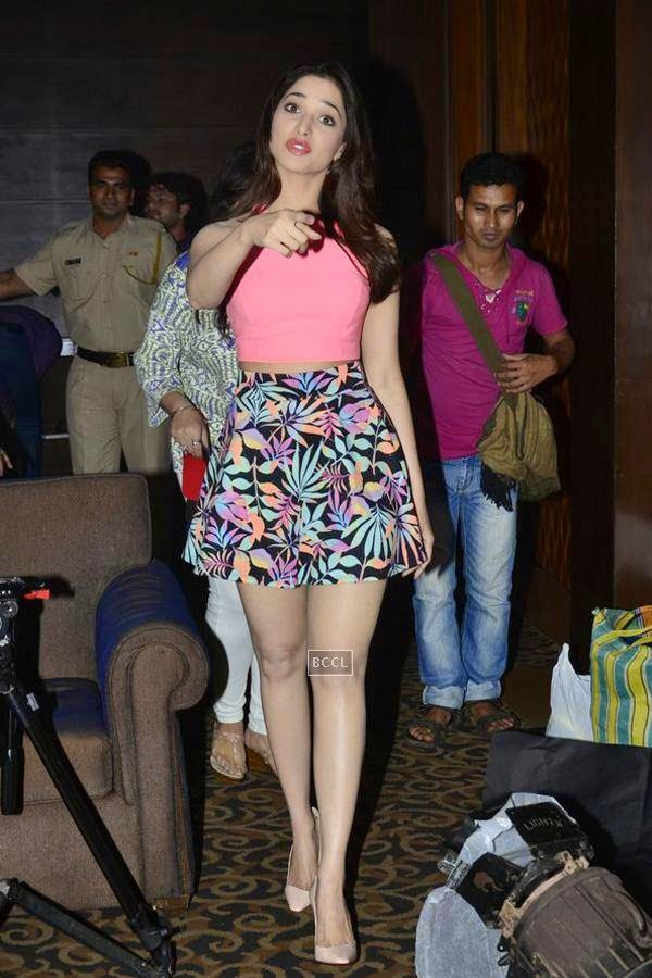 Tamannaah Bhatia during the first look of movie Entertainment, held at Sun-N-Sand, in Mumbai. (Pic: Viral Bhayani)