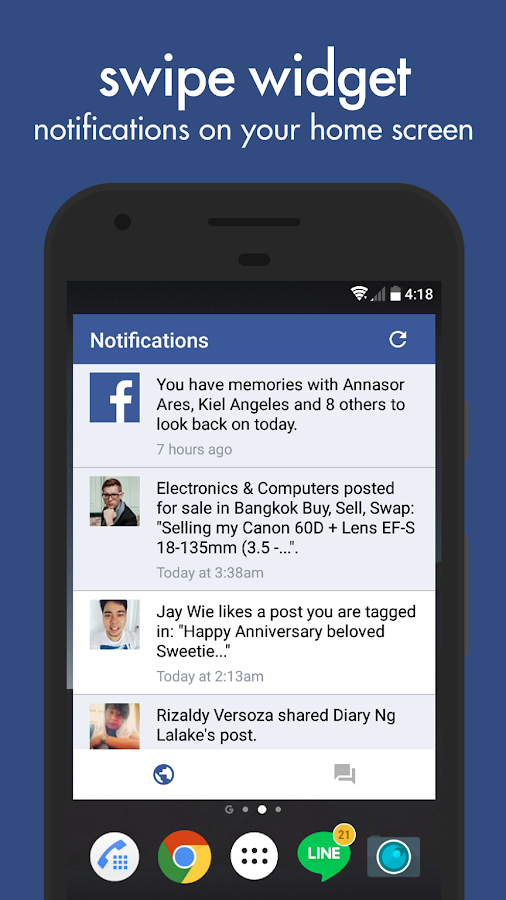 Swipe for Facebook- screenshot