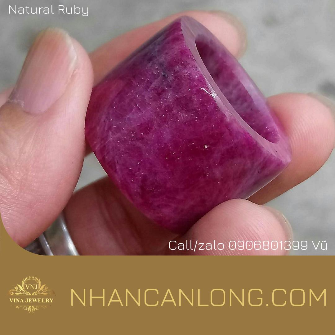 Nhẫn Càn Long đá quý Ruby thiên nhiên 100% nguyên khối