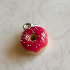 Red Donut with Silver Sprinkles Pendant