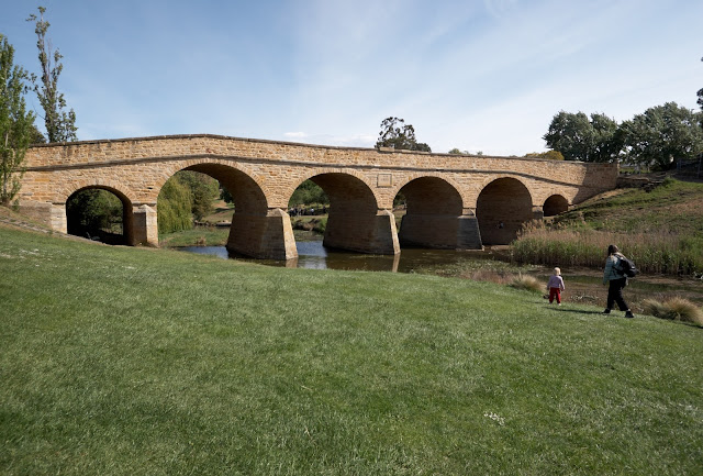 View of the arches of Richmond bridge - the oldest bridge still in use in Australia