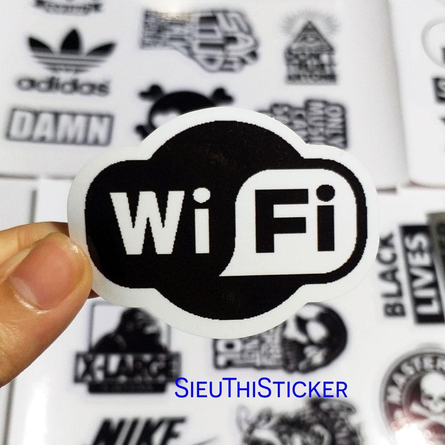 hình dán wifi đen trắng